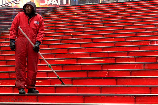 Man on Red Stairs