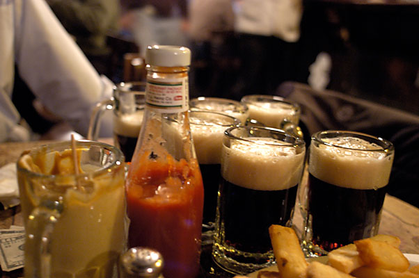 Mcsorley's Dark ale and mustard